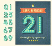 Retro birthday card with light bulb sign numbers. Retro birthday card or web banner design with full set of light bulb display numbers. easy to edit Stock Photos
