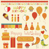 Retro Birthday Celebration Design Elements Stock Photo