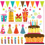 Retro Birthday Celebration Elements Royalty Free Stock Images