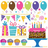 Retro Birthday Elements Royalty Free Stock Photos