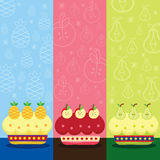 Retro Birthday Fruits Cake Royalty Free Stock Photo
