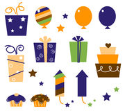 Retro birthday icons and elements orange blue stock images