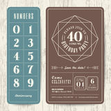 Retro birthday party invitation card with editable numbers. Template Royalty Free Stock Photography