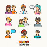 Retro 16-bit People Characters Royalty Free Stock Photo