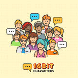 Retro 16-bit People Characters Royalty Free Stock Photography