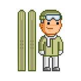 Retro 8-bit  pixel skier. Retro  pixel skier on white background Royalty Free Stock Photo