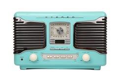 retro blå klassisk isolerad radio Arkivbild