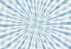 Retro blå sunburst och bakgrund för stil för komisk tecknad film för strålar rastrerad Abstrakt tappninggrunge med solljus stock illustrationer