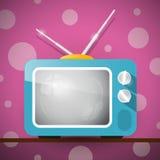 Retro blå television, TVillustration Arkivfoton