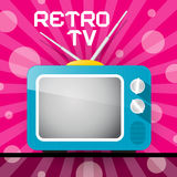 Retro blå television, TVillustration Royaltyfria Bilder