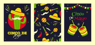 Retro black background header banner or poster design for Fiesta party celebration. Music instrument, red chilli and bunting decoration stock illustration