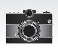 Retro black camera illustration Stock Photography