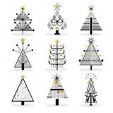 Retro black, gray and golden trendy isolated pop art Christmas trees icons set vector illustration