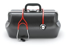 Free Retro Black Leather Doctor`s Bag With The Stethoscope Royalty Free Stock Image - 87489016
