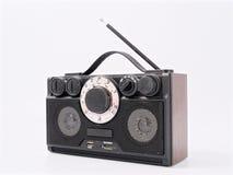Retro black radio receiver with antenna and speakers stock image