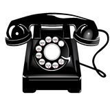 Retro black telephone. Illustration of retro black telephone; isolated on white background Royalty Free Stock Photography