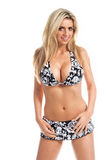 Retro Black and White Bikini Blonde Royalty Free Stock Image