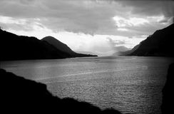 The Columbia River. A retro Black and White image of the Columbia River looking West.  Oregon is on the left of the photo with Washington State on the right Stock Photos