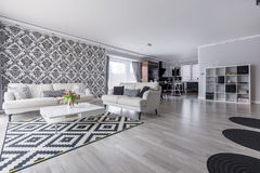 Retro living room in apartment stock photos