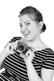 Retro monochrome pretty woman photographer Royalty Free Stock Images