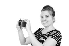 Retro monochrome pretty woman photographer Stock Photos