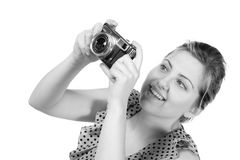 Retro monochrome pretty woman photographer Royalty Free Stock Image