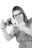 Retro monochrome pretty woman photographer Stock Image