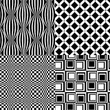 Black White Patterns Retro Vector 4. 4 Bold retro black and white Patterns Vector Illustrations Royalty Free Stock Photos