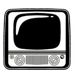 Retro Black and white vintage TV. Vector Illustration on white background Royalty Free Stock Photo