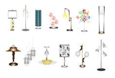 Retro blandade hushålllampor Arkivbild