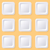 Retro blank square buttons. Retro blank white square buttons with shadows royalty free illustration