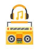 Retro blaster cassette tape recorder stereo record equipment audio music sound player vector illustration. Stock Photo
