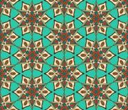 Retro Blauw Beige de Bloempatroon van Monoline Royalty-vrije Stock Foto's