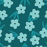 Retro Blauw bloemen naadloos patroon royalty-vrije illustratie