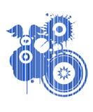 Retro blauwe abstracte vorm Royalty-vrije Stock Foto's