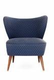 Retro blauwe beklede stoel Royalty-vrije Stock Foto