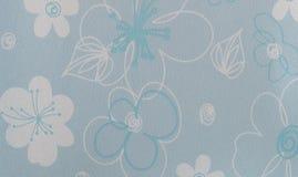 Retro Blauwe Bloemenpatroon Ruwe Plastic Textuur Royalty-vrije Stock Fotografie