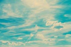 Retro Blauwe de Zomerhemel en Wolken Stock Fotografie