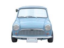 Retro blauwe minidiegrootteauto op wit wordt geïsoleerd Stock Fotografie