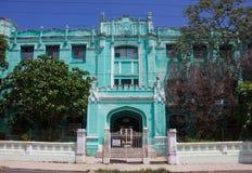 Retro blauwe villa in Cuba Royalty-vrije Stock Fotografie