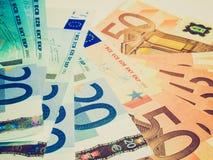 Retro- Blick Euro-bankonotes Hintergrund Stockbild