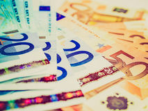 Retro- Blick Euro-bankonotes Hintergrund Lizenzfreie Stockfotografie