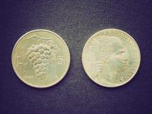 Retro- Blick Euromünze Lizenzfreies Stockfoto