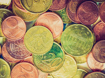 Retro- Blick Euromünze Stockfoto