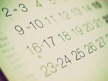 Retro- Blick Kalender Lizenzfreies Stockfoto