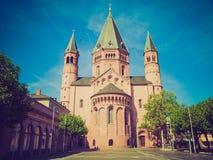 Retro- Blick Mainz-Kathedrale Stockfotografie
