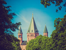 Retro- Blick Mainz-Kathedrale Lizenzfreie Stockbilder