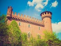 Retro- Blick mittelalterliches Schloss Turin Stockbild
