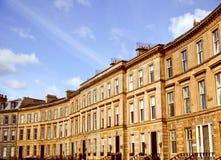 Retro blick terrasserade hus Fotografering för Bildbyråer