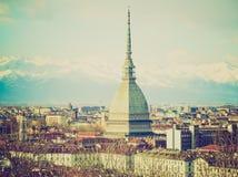 Retro blick Turin, Italien Arkivbilder